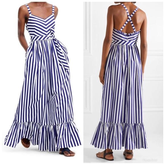379809572bf J. Crew Dresses   Skirts - Ruffled striped cotton-poplin maxi dress